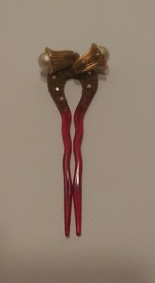 """4"""" Vintage Lucite Rhinestone Gold Pearl Hair Decoration Comb 1930-1940s"""