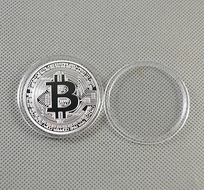 Fine Silver Plated Commemorative Bitcoin Collectible Golden Iron Miner Coin B7