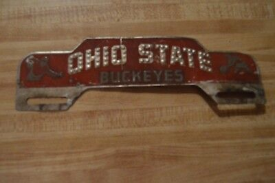 Early embossed tin license plate topper, Ohio State Buckeyes, football & basketb