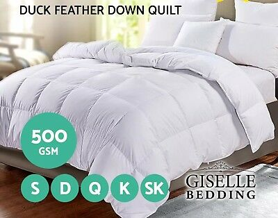 BRAND NEW DOUBLE Giselle Bedding Duck Down Feather Quilt 500GSM Doona Duvet