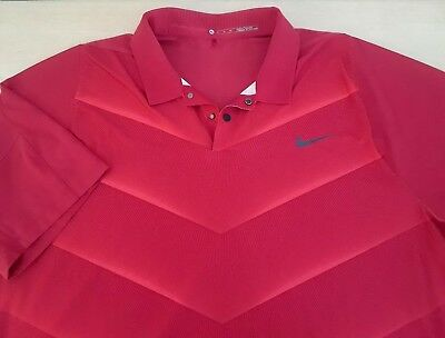 """Nike Tiger Woods Golf Polo Dri-Fit Shirt Mens Size XL 51"""" Chest Red"""