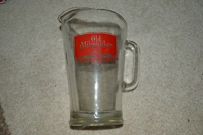 Vintage Old Milwaukee Beer Heavy Glass Pitcher Advertising Bar Ware Rare!!