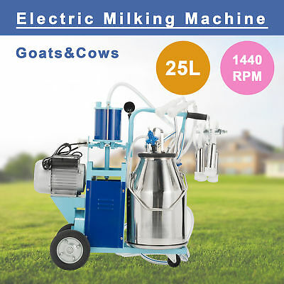 25L Electric Milking Milker Machine for Cows Goats Milking 10-12 Cows per Hour.