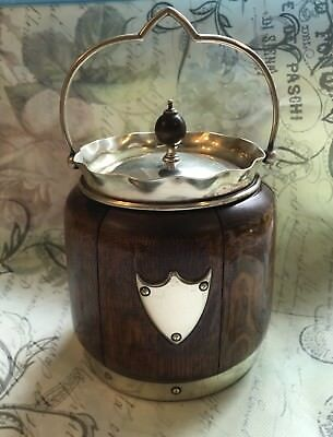antique handmade oak or chestnut porcelain tobacco jar humidor box .