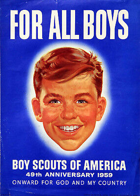 "Vintage 1959 BOY SCOUTS of AMERICA Poster - GOD & COUNTRY - 9 1/2 x 13"" Antique"