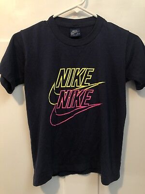 Vtg 70s 80s Nike Blue Grey Tag Youth Boys Large T Shirt