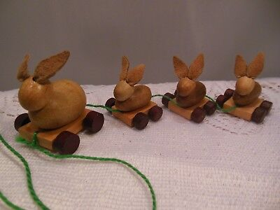 VTG. MINI WOODEN BUNNY TRAIN w/ALL MOVING WHEELS & SOFT LEATHER BUNNY EARS