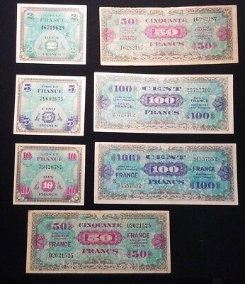 Lot of 7 Allied Military Currency Notes 1944 France 2 5 10 50 100 Francs  #HR2