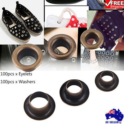 100PC Metal Eyelets Grommets+Washers Set for Leather Craft DIY Sewing 4/5/6mm AU