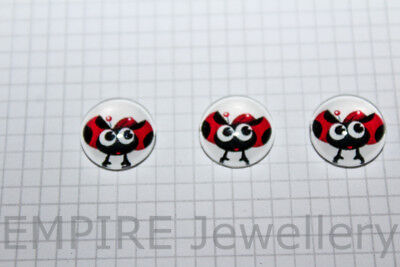 2 x Red Ladybug #2 12x12mm Glass Cabochons Cameo Dome Ladybird Insect