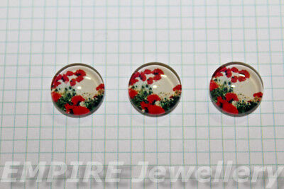 2 x Red Poppies 12x12mm Glass Cabochons Cameo Dome Poppy Flower
