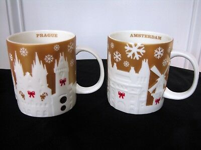 LOT 2 New NWT Starbucks 2014 PRAGUE + AMSTERDAM Limited Edition Relief GOLD Mugs