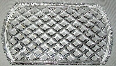 VINTAGE CLEAR GLASS VANITY TRAY / SERVING PLATE 30 x 17.5cm *chip*