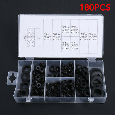 180Pc Assorted Rubber Grommet Set Open & Closed Blind Blanking Grommets Wiring
