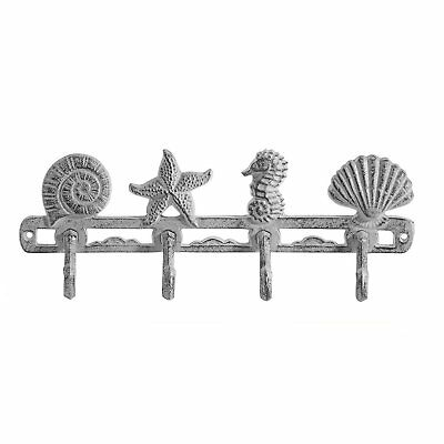 Comfify Vintage Seashell Coat Hook Hanger by Rustic Cast Iron Wall Hanger w/4