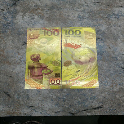 2pcs Russia Banknote 100 Rubles 2018 Fifa World Cup Souvenir Banknote Golden New