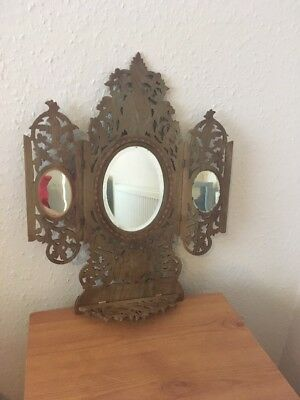 Antique Sorrento Olivewood Tryptic Mirror With Mosaic Inlay