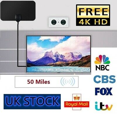 Thin Digital HDTV Indoor Freeview Antenna with TV Aerial 50 Mile Range