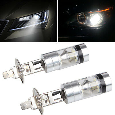 2pcs H1 100W LED White 12-24V 20-SMD Projector Fog Driving DRL Light Bulb 6000K