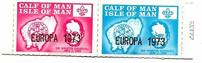 A Pair Of Perorated  Stamps From The Isle Of Man,calf Of Man 1973.