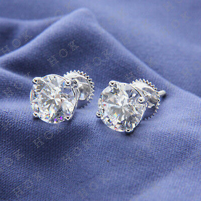 Round Cut 3 Ct Solitaire Diamond Stud Earrings 14k White Gold Finish