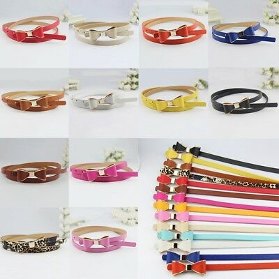 Women Girl Fashion Multi-Color Bowknot Buckle Skinny PU Leather Thin Waist Belt