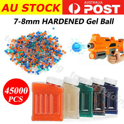 7 - 8mm 45000PCS HARDENED Gel Ball Ammo Crystal Water Bead Gell Toy Blaster AU