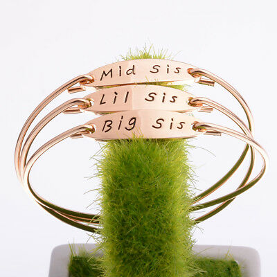 Big Sis Middle Sis Little Sis Sister Cuff Bangle Bracelet Family Friend Gift one
