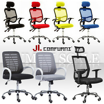 Executive Mesh Office Chair Adjustable High Back Swivel Ergonomic Fabric Chrome