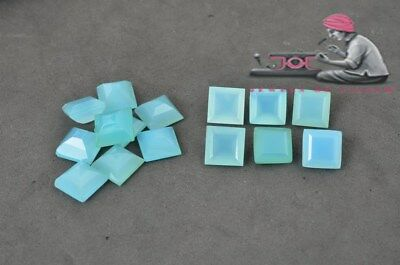 Natural Aqua Chalcedony 10mm Square Cut 5 Piece Blue Color Loose Gemstone UK