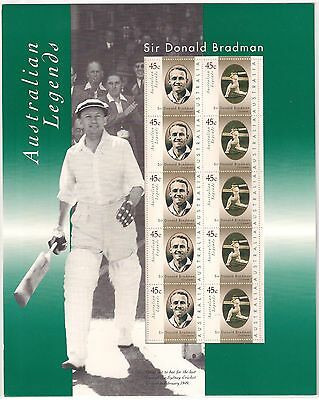 Sir Donald Bradman Post Stamp pack 1997 10 x 45c stamps cricket