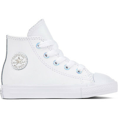 a81ca8ba16c5 Converse Chuck Taylor All Star Hi White Metallic Gunmetal Leather Baby  Trainers