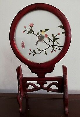 Stunning Vintage Chinese Double Sided Hand Embroidery In Convex Swivel Woodframe