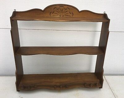 Vintage Solid Wood Wall Mount Shelf Plates Figurines Knickknacks Slotted 3 Tier