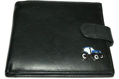 Ford/New Holland Blue Tractor Wallet Leather Black/Brown/Tan Gift Boxed Farming