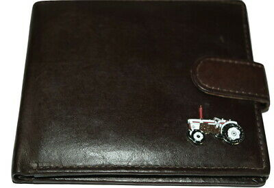 David Brown Vintage Tractor Leather Wallet Gift Box Black/Brown Enamel Farming