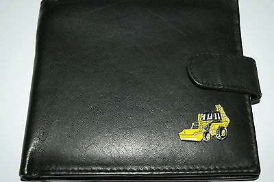 JCB Digger Wallet soft Leather Black/Brown/Tan Gift Boxed Yellow Enamel emblem