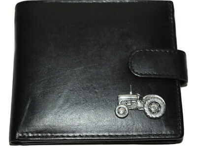 Tractor Soft Black leather wallet Pewter Emblem Gift Boxed Men's Farming Gift