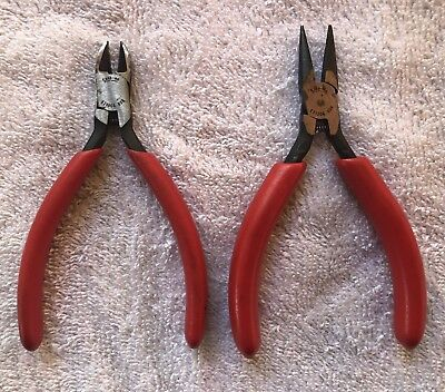 """Snap On Tools 2Pc 5"""" Electronic Pliers & Cutters Wirh Orange Vinyl Grips"""