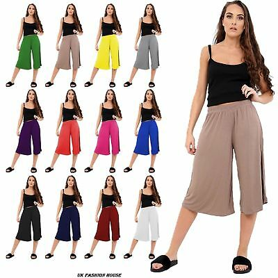 Ladies Womens Elasticated Stretch Print Wide Leg Culottes Shorts Plus Size 8-26