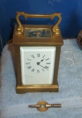 Vintage Brass Carriage Clock In Working Order With Key