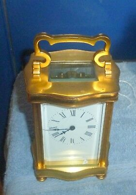 Vintage Brass Carriage Clock In Working Order No Key