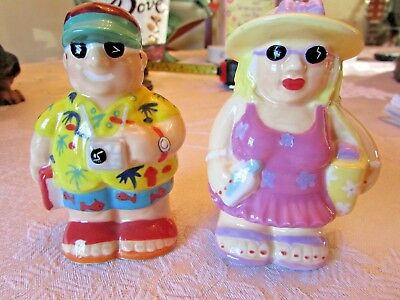 Vintage Salt / Pepper Shakers (Vacation Couple) 3 In.
