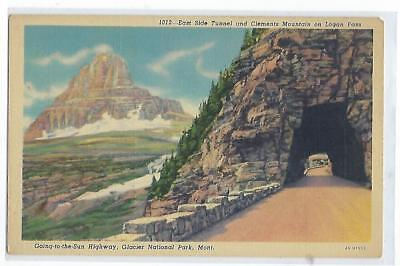 East Side Tunnel & Clements Mtn - Logan Pass, Montana - Vintage Postcard