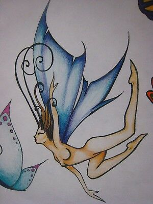 Tattoo Flash... Fairy,Mushroom # 139..Hand colored