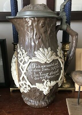 """Antique 1894 Large Villeroy & Boch Mettlach """"Harvest"""" Relief Pitcher Germany 4L"""