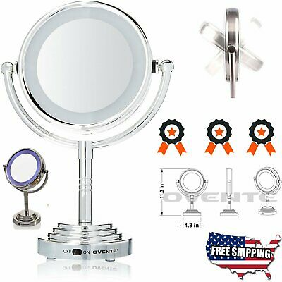 Vanity Light Makeup Mirror LED Tabletop Chrome Magnifying Cosmetic Double Side M