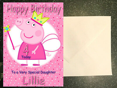 Peppa Pig Personalised Birthday Card Any Name Age Relation
