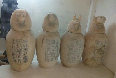 Replica Rare Antique Ancient Egyptian alabaster canopic jars BC