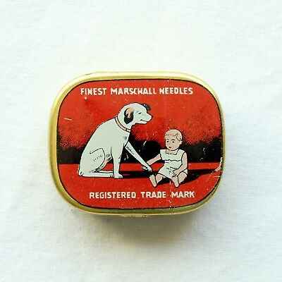 GRAMOPHONE NEEDLE TIN - Marschall Finest - Dog & Baby [NEEDLE TIN]